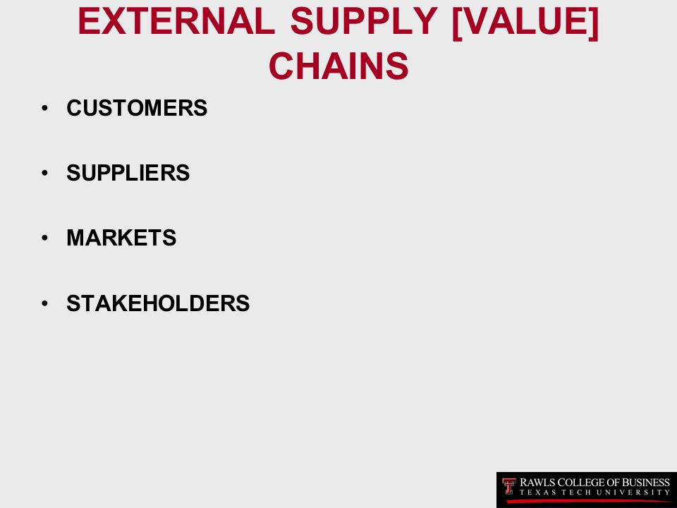 EXTERNAL SUPPLY [VALUE] CHAINS